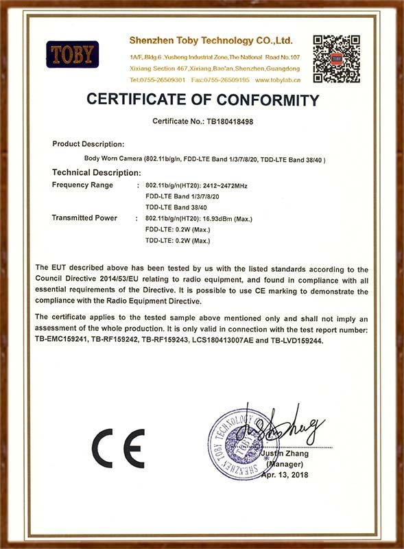 I827 CE 证书
